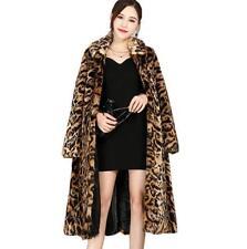 Womens Ladies Leopard Print Faux Fur Thick Long Jackets Winter Parka Coat D433