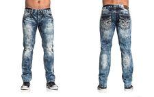 AFFLICTION Ace Fleur Valdez 110SS125 Slim Straight Denim Men's Jeans Blue, Sz 36