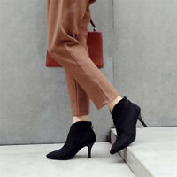 Women High Heels Ankle Boots Suede Pointed Toe Stilettos Fashion Back Zip Shoes