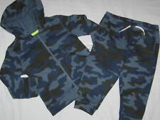 JOE FRESH Baby 12/18 Months Blue and Brown Camo Hoodie and Sweatpants Set Outfit