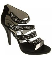 BN Divine Diamante Black High Heel Satin Evening Party Wedding Prom Shoes UK 5