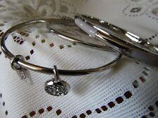 Coach Plaque 3 Piece Bangle Bracelet Set   Silver Grey/ Birch  90662