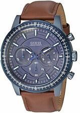 NWT MEN'S GUESS SPORTY STAINLESS STEAL W LEATHER STRAP CHRONOGRAPH WATCH U0867G2