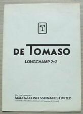 DE TOMASO LONGCHAMP 2+2 MODENA concessionari di vendita specifiche del produttore OPUSCOLO c1973