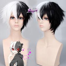 30cm Half Black Half White Short Wig Cruella DeVille Full Wig Anime Cosplay