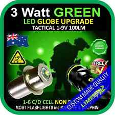 LED GREEN 1-9V UPGRADE 3W CREE BULB GLOBE for MAGLITE DOLPHIN FLASHLIGHT TORCH