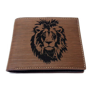 Lion Silhouette Men's Wallet Laser Engraved, Gift for Him, Perfect Gift, Pu Leat