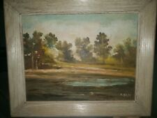 Vintage oil painting plein air landscape