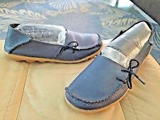 Unisex MINT Gorgeous Navy Pebble Leather Slip On Comfort Mocs sz 9.5 men,11.5 wm