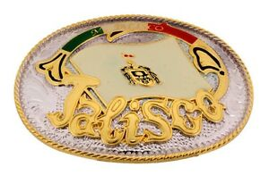 State Mexico Flag Hecho Mi Jalisco Belt Buckle  Western Aztec Cowboy Rodeo Texas