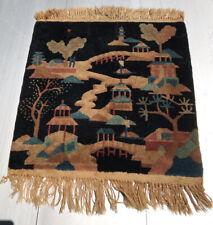 New listing Old Hand Made Fette Chinese Peking Art Deco Wool Rug Fringe Nice