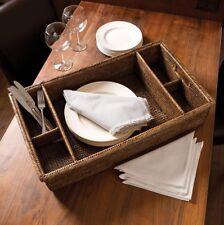 Burma Rattan Dinnerware Caddy Serving Tray Basket Coastal Modern Farmhouse Decor
