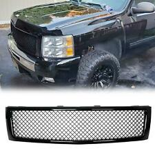 For 2007-2013 Chevy Silverado 1500 Glossy Black Front Hood Mesh Grill Grille