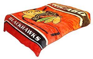 Licensed NHL Hockey Chicago Blackhawks Royal Plush Soft Queen Size Blanket