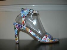 NEOSENS WOMEN'S SANDALS HIGH HEELS STRAPPY 100% LEATHER FLORAL EU 39 / UK 6