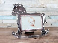"""3.5X5"""" Silver Plated Horse Shaped Pink Gems Detail Photo Frame Baby nursery"""