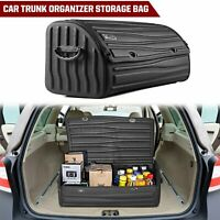 Color Name : Black blue S VISTANIA Multipurpose Collapsible Car Trunk Storage Organizer With Lid Portable Car Storage Bag Car Trunk Organizer