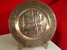 "Vintage Original Zinn Becker 9"" Pewter Plate ~ Ornate Boarder City Scene"