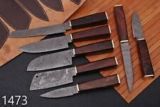 7pcs HAND FORGED DAMASCUS STEEL CHEF KNIFE KITCHEN SET WITH ROse Wood Handle