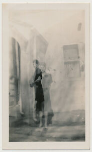 SURREAL GHOST WOMAN OUT of BODY EXPERIENCE vtg 30's NOIR DOUBLE EXPOSURE photo