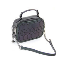 Geometric Luminous Top-handle Handbag Holographic Reflective Tote Shoulder Bag