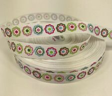 "By The Yard 5/8"" Pretty Flowers Grosgrain Ribbon Hair Bows Lanyards Lisa"