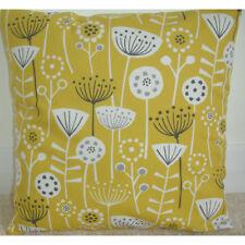 "16"" Cushion Cover Yellow Ochre Saffron Mustard Grey Seedheads Scandi 16x16"