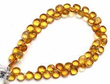 """Golden Citrine Color Hydro Quartz Faceted 6MM Heart Shape Briolette Beads 8"""""""