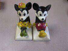 "DISNEY Bookends Figurine Mickey & Minnie Mouse  JAPAN 6.5"" vintage"