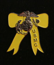 YELLOW RIBBON LAPEL HAT VEST PIN US MARINES VETERAN GIRLFRIEND WIFE MOM SISTER
