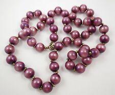 "VTG Purple Glass 11mm Bead Necklace 30"""