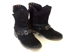 MUSSE & CLOUD Anaeh Size 7  Black Suede Leather Medallion & Fringe Ankle Boots