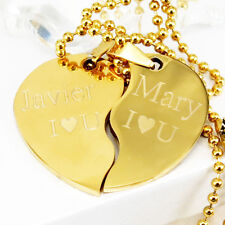 """18k Gold Plated His and Hers Plain Custom Heart Pendant Love Couple Necklace 22"""""""