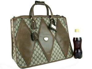 Authentic GUCCI GG Logos Brown Leather Monogram Briefcase Hand Bag Purse Vintage