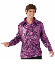 Disco Dude Mens Adult 70S Purple Halloween Costume Shirt-Std