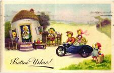 Easter chicks family riding motorcycle side car French artist postcard 1940s