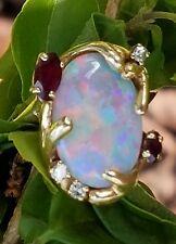Vintage 14k Yellow Gold Opal Garnet Diamond Band Ring Estate Jewelry 9.2 gm