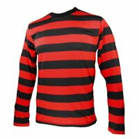 Unisex Red Black Striped T-Shirt Denis Top Full Sleeve Fancy Dress Outfit UK