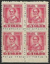 STAMPS-BRAZIL. 1947. 10cr Carmine. Watermark 203. 4 Block. SG: 764. MNH.