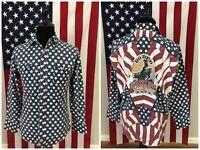 vtg 90s Wrangler USA Flag Rodeo Pearl Snap Western Shirt men's LARGE bull 2c968