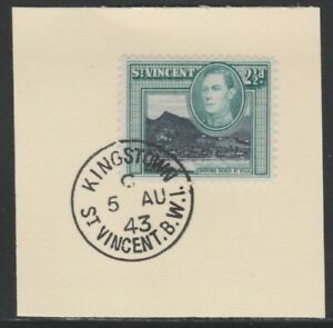 909140 St VINCENT 1938 KG6 2.5d def on piece with MADAME JOSEPH FORGED POSTMARK