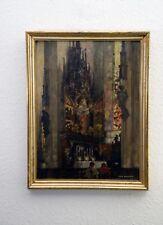 Max Baumann Ölgemälde auf Holz signiert, ca.1925 Kirche Dom Christus Christentum