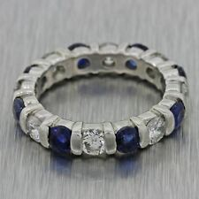 Womens Vintage Estate Platinum 1.2ct Diamond Sapphire Eternity Wedding Band Ring