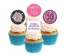 Novelty 16th Birthday Mix Female 12 Edible Stand Up wafer paper cake toppers