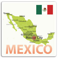 2 x 10cm Mexico Map Vinyl Stickers - Flag Travel Sticker Laptop Luggage #17229