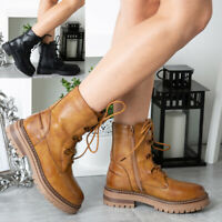 Womens Ankle Boots Ladies Casual Zip Lace Up Comfy Chunky Heel Army Combat Shoes