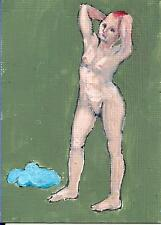 ACEO Print of my original painting Art Card Nude Figure Female Standing Signed