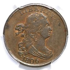 1806 C-1 PCGS AU 50 Small 6, No Stems Draped Bust Half Cent Coin 1/2c