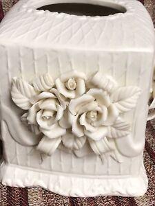 MC Vintage Ceramic Bisque Rose Square Tissue Box Cover Decorative Shabby Chic