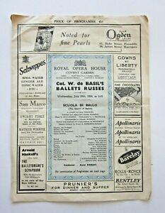 1936 Covent Garden Prog Russian Ballet Scheherazade L'Apres Midi Massine Danilov